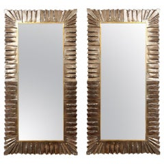 Large Murano Amber Bronze Glass Mirror, In Stock