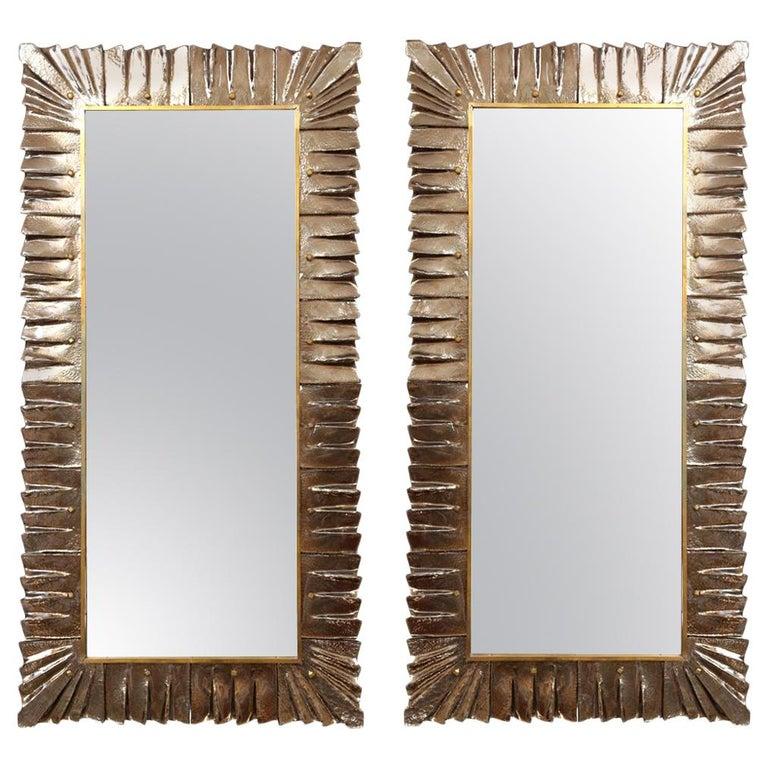 Large Rectangular Murano Amber Glass Framed Mirror For Sale