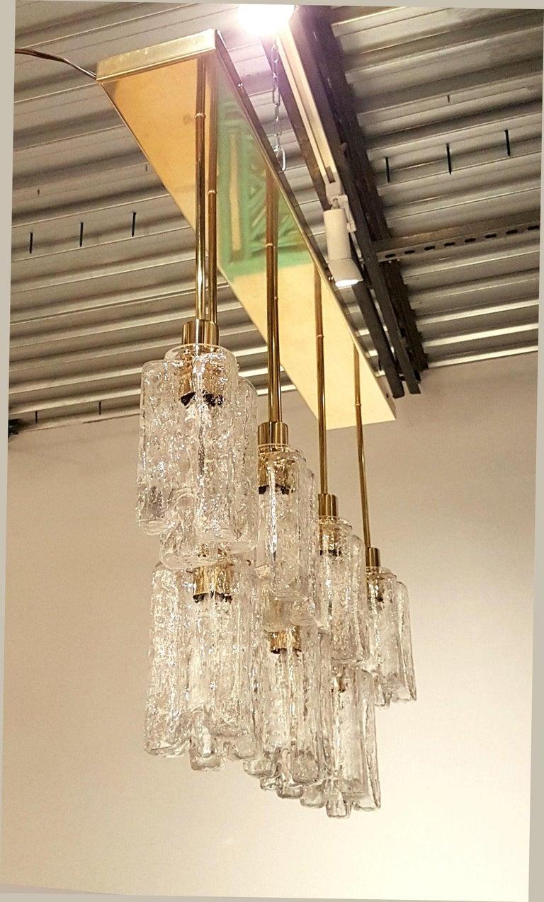 Mid-Century Modern Large Rectangular Murano Glass and Brass Flushmount Light, Bespoke by D'Lightus For Sale