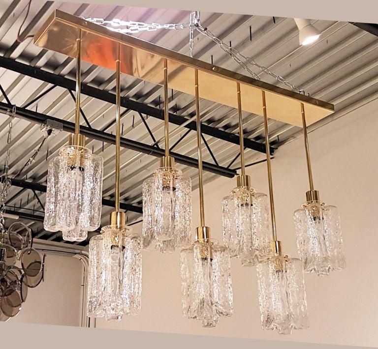Italian Large Rectangular Murano Glass and Brass Flushmount Light, Bespoke by D'Lightus For Sale