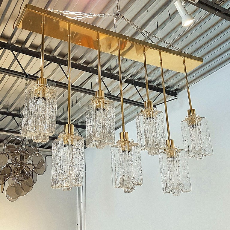 Polished Large Rectangular Murano Glass and Brass Flushmount Light, Bespoke by D'Lightus For Sale