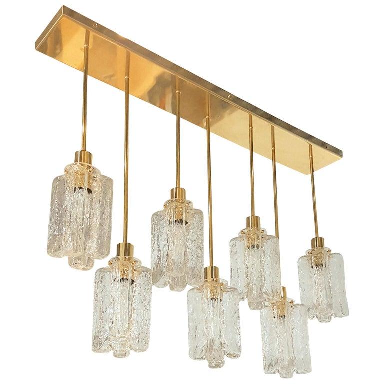 Large Rectangular Murano Glass and Brass Flushmount Light, Bespoke by D'Lightus For Sale