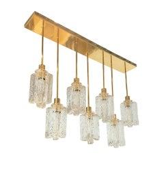 Large Rectangular Murano Glass and Brass Flush Mount Light, Kalmar Style, 1970s