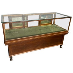Large Rectangular Oak And Glass Display Case Cabinet On Cast Lion Feet
