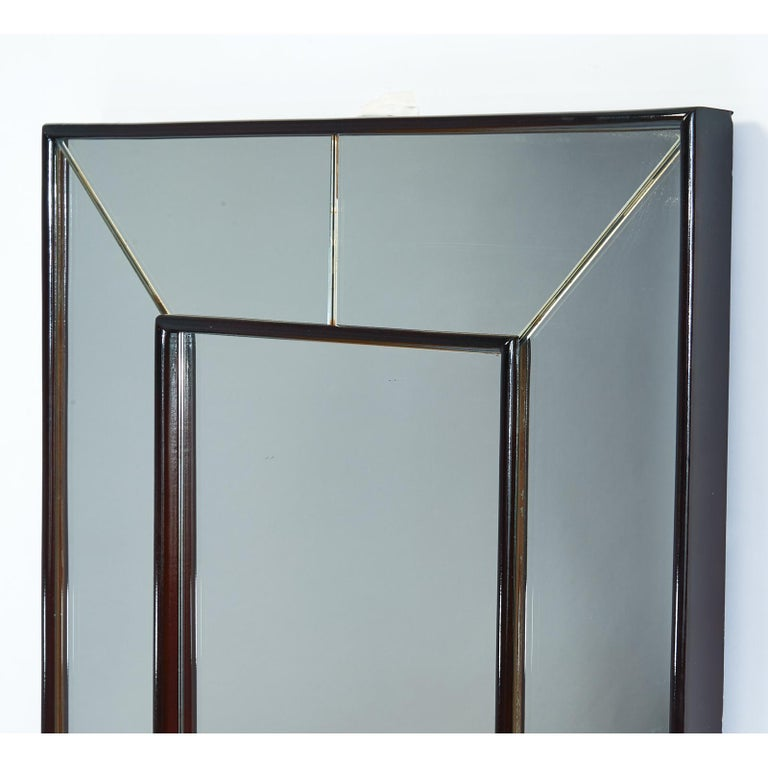 Mid-Century Modern Large Rectangular Polished Wood Mirror, Italy, 1950s For Sale