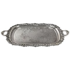 Large Rectangular Sheffield Serving Tray with Handles