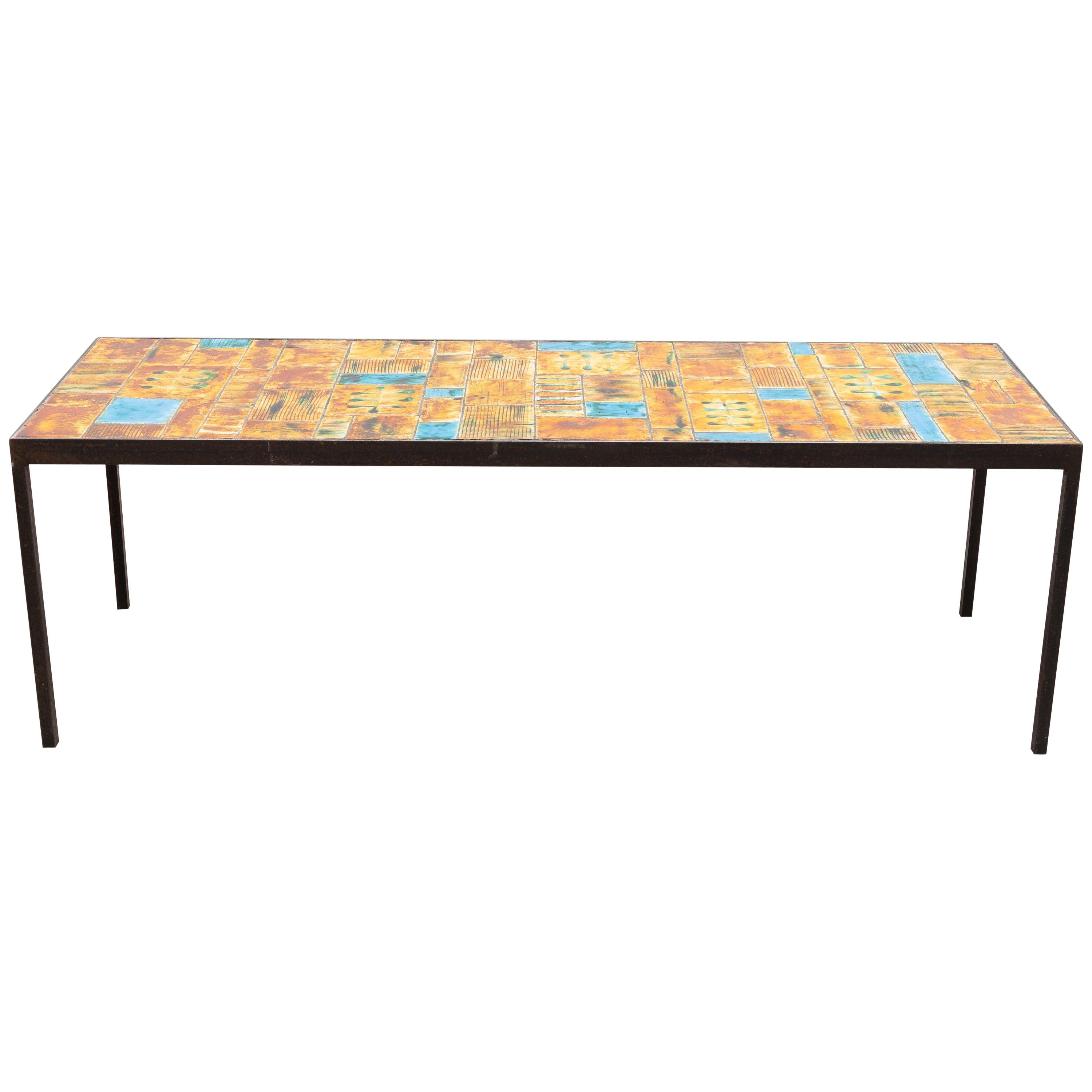 Large Rectangular Tile Coffee Table Designed by Vallauris, France, 1960s
