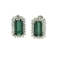 Large Rectangular Tourmaline and Diamond Halo White Gold Earrings