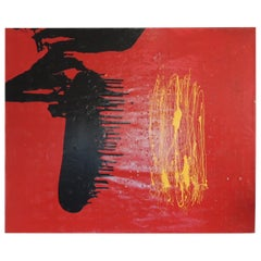 "Large Red and Black Abstract Oil and Mixed-Media Painting ""Pinga Pinga"""