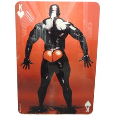 "Large Red and Black ""King of Hearts"" Mounted Photo of Standing Muscle Male Nude"