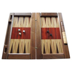 Large Red and Brown Vintage Style Wood Inlaid Backgammon Game Board
