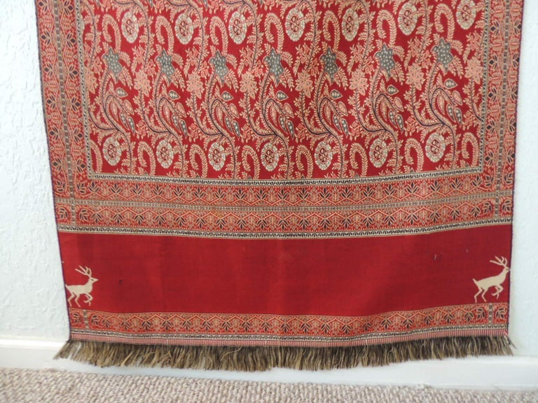 Moorish Large Red and Green Floral Shawl or Wall Hanging For Sale