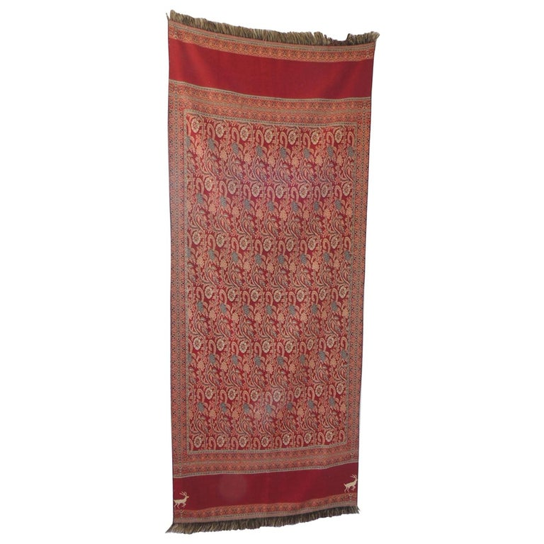 Large Red and Green Floral Shawl or Wall Hanging For Sale