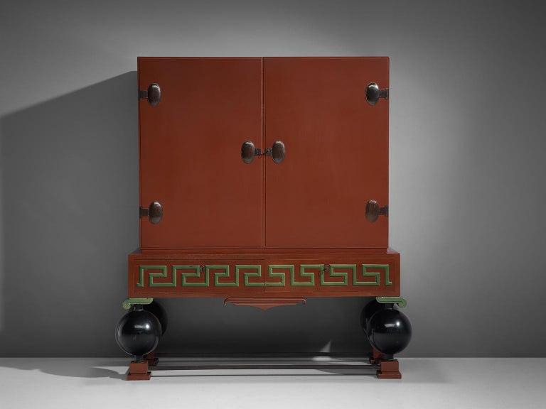 Scandinavian Modern Large Red Cabinet by Paul Boberg