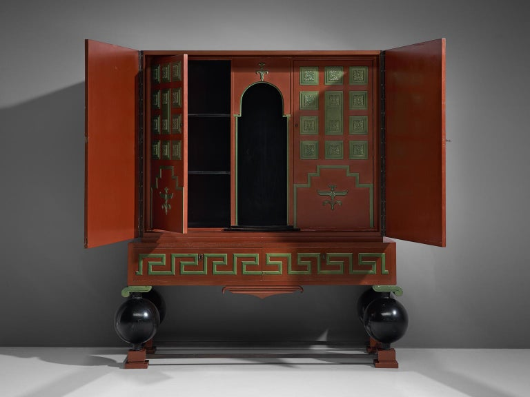 Swedish Large Red Cabinet by Paul Boberg For Sale