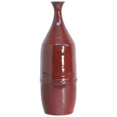 Large Red Ceramic Vase by Leon Goossens