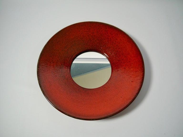 Scandinavian Modern Large Red Ceramic Wall Mirror by Stig Lindberg for Gustavsberg, Sweden, 1950s For Sale