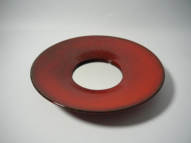 Swedish Large Red Ceramic Wall Mirror by Stig Lindberg for Gustavsberg, Sweden, 1950s For Sale
