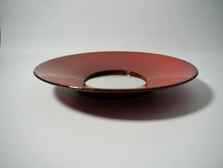 Glazed Large Red Ceramic Wall Mirror by Stig Lindberg for Gustavsberg, Sweden, 1950s For Sale