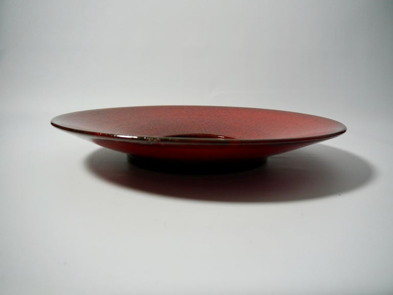 Large Red Ceramic Wall Mirror by Stig Lindberg for Gustavsberg, Sweden, 1950s In Good Condition For Sale In Barcelona, ES