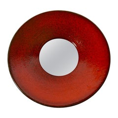 Large Red Ceramic Wall Mirror by Stig Lindberg for Gustavsberg, Sweden, 1950s