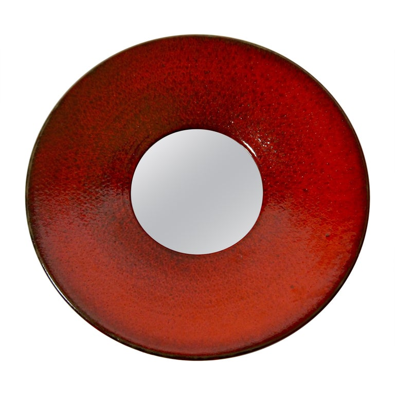 Large Red Ceramic Wall Mirror by Stig Lindberg for Gustavsberg, Sweden, 1950s For Sale