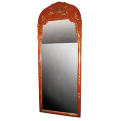 Large Red Chinoiserie Mirror
