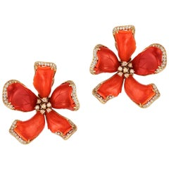 Goshwara Large Red Coral Flower And Diamond Earrings