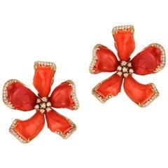 Goshwara Large Red Coral Flower And Diamond Earrings