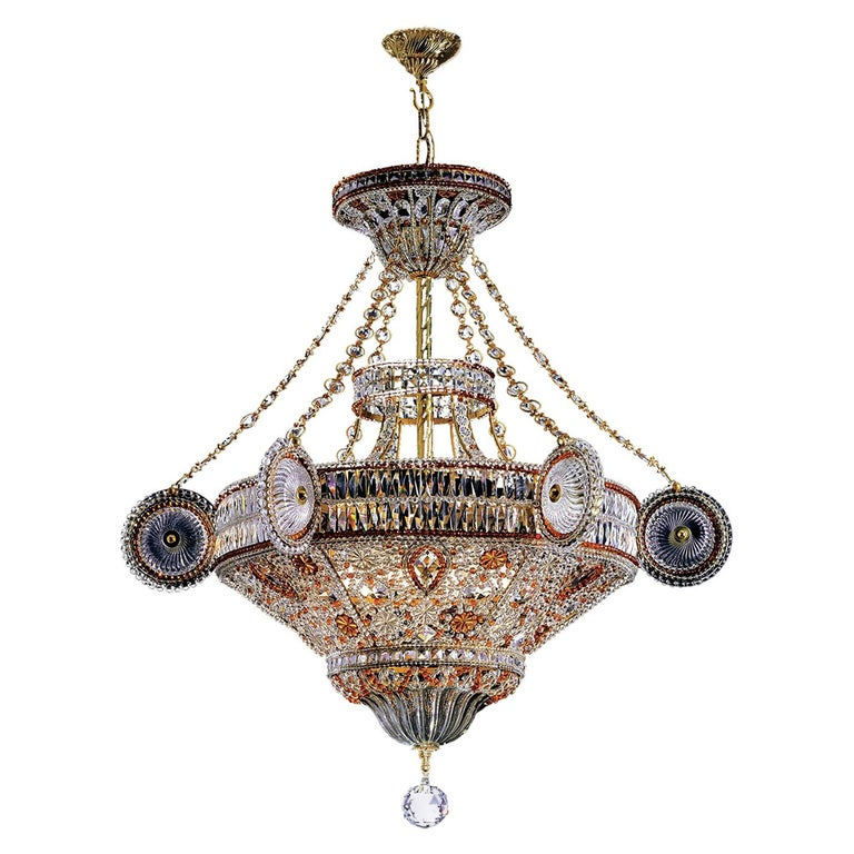 Large Red Crystal Chandelier by Banci For Sale