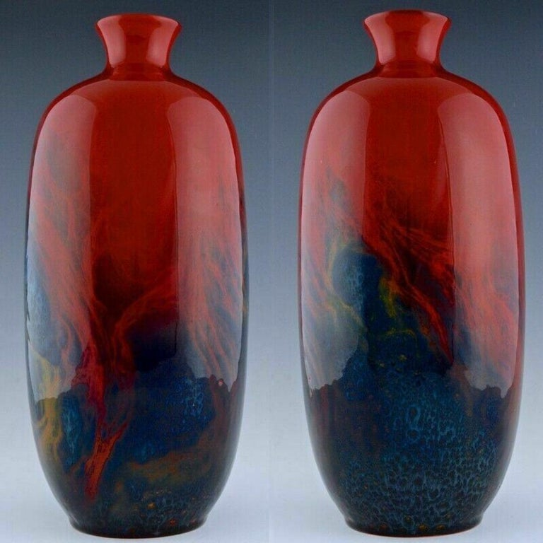 Large Red Flambé Art Deco Vase from Royal Doulton, circa 1930 In Good Condition In Los Angeles, CA
