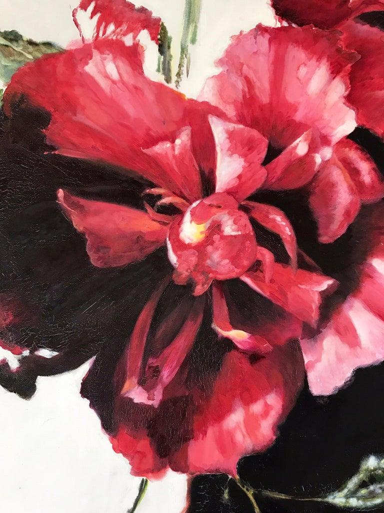 Large Red Floral Original Oil Painting Signed by Tom Ryan In Good Condition For Sale In West Hartford, CT