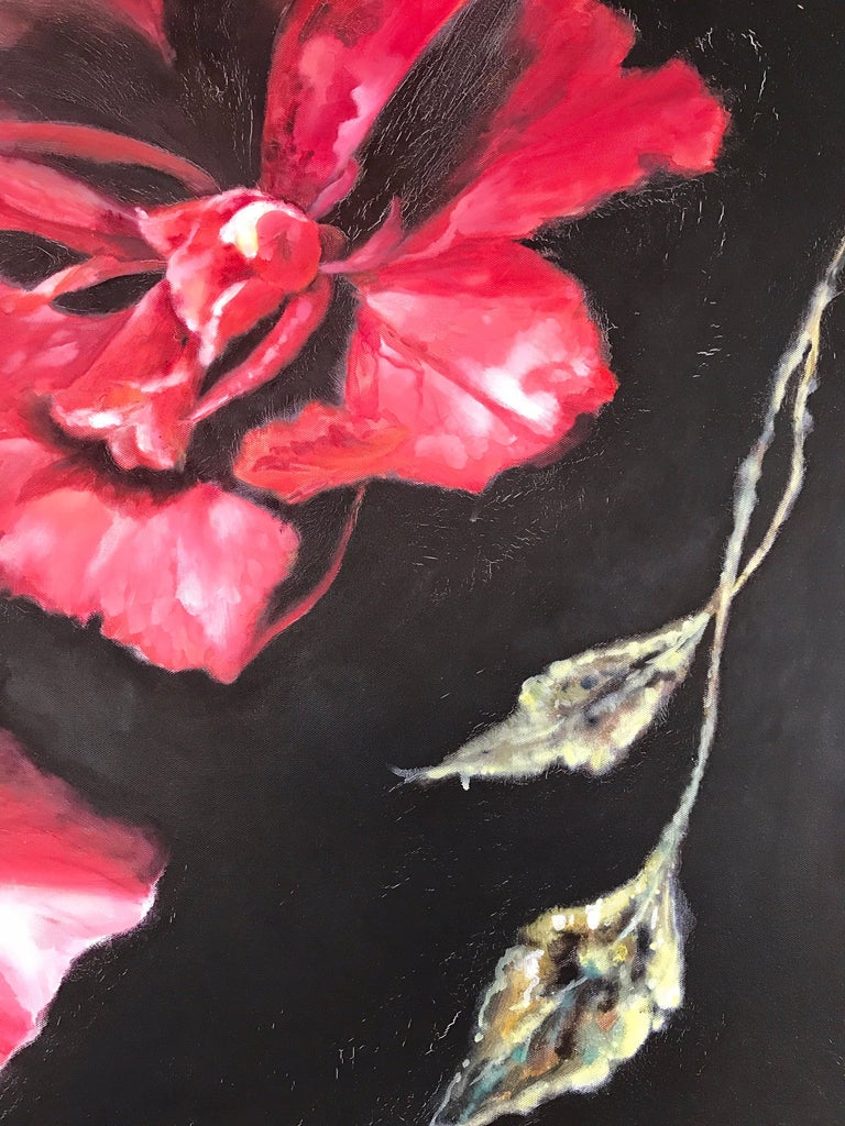 Late 20th Century Large Red Floral Original Oil Painting Signed by Tom Ryan For Sale