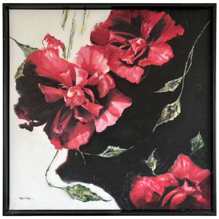 Large Red Floral Original Oil Painting Signed by Tom Ryan For Sale