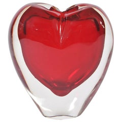 Large Red Italian Murano Heart Vase