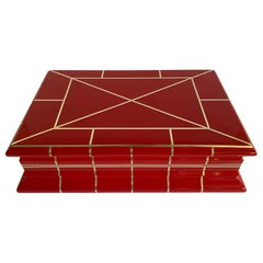 Red Lacquer Box Attributed to Karl Springer
