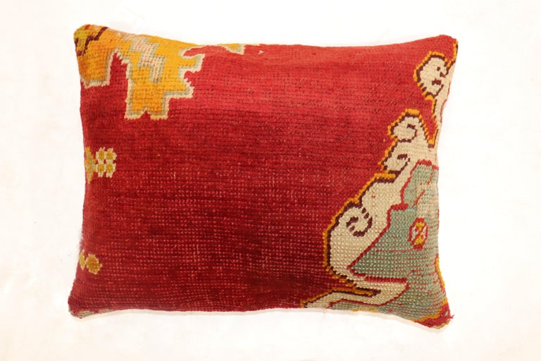 Agra Large Red Oushak Rug Pillow For Sale