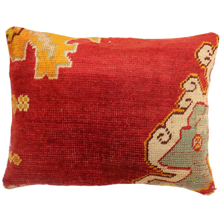 Large Red Oushak Rug Pillow For Sale