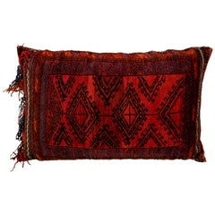 Large Red Vintage Persian Tribal Pillow