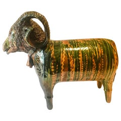 Large Redware Standing Ram Figure with Spaghetti Wool