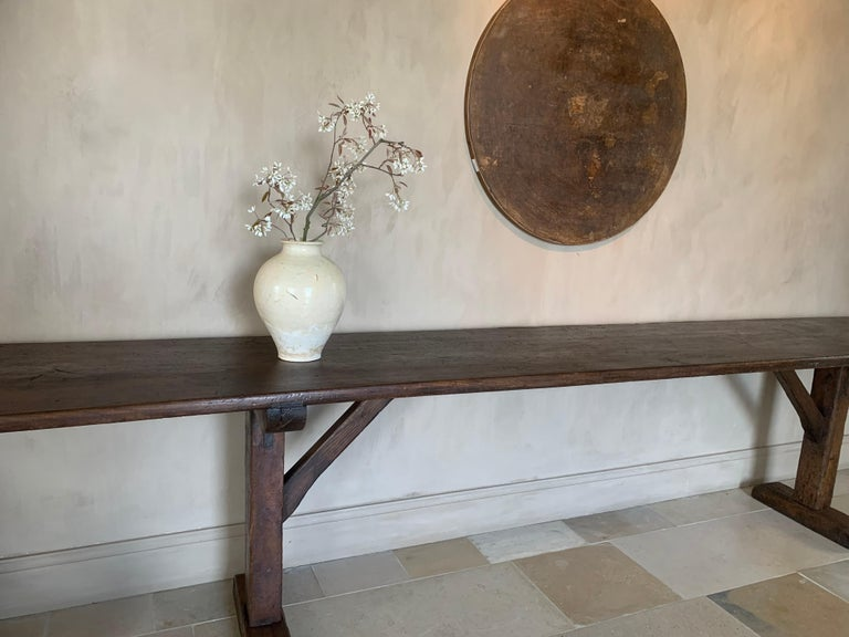 Hand-Crafted Large Refectory Console Table For Sale