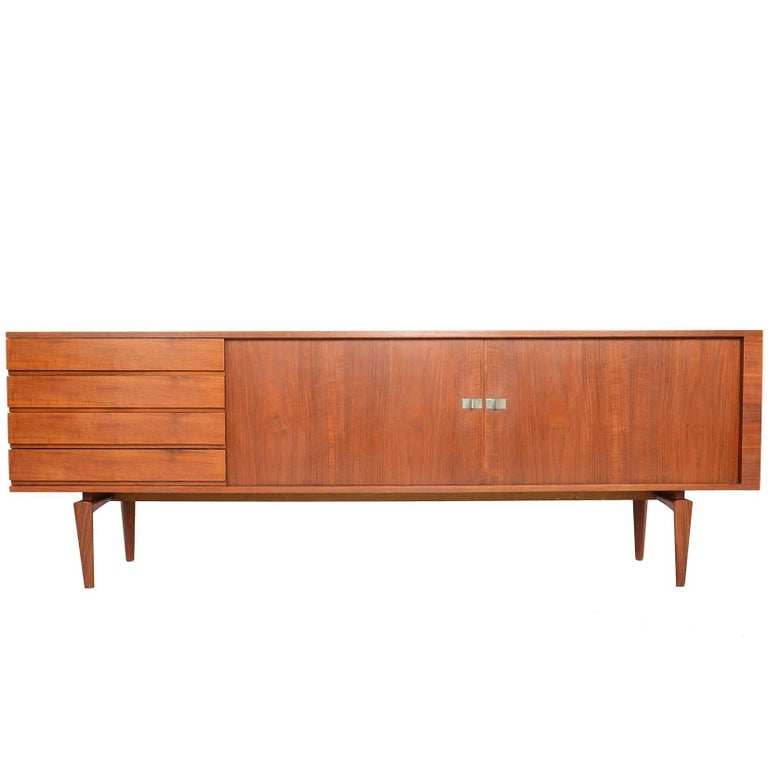 Large Refinished Teak Tambour Credenza by H.W. Klein for Bramin