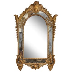 Large Régence Carved Giltwood Wall Mirror