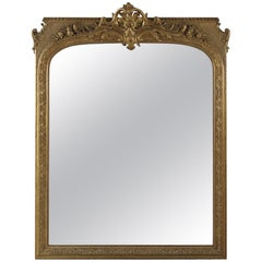 Large Regence Style Carved Giltwood and Gesso Mirror, circa 1860