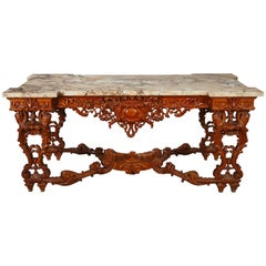 Large Regence Style Carved Wood Center Table