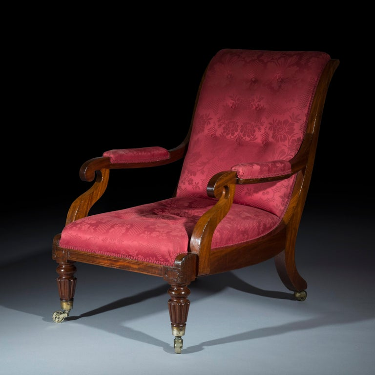 A fine quality early 19th century Regency, George IV period library armchair, of deep generous proportions, in dense solid mahogany, covered in crimson damask, attributed to Gillows of Lancaster and London. English, circa 1830.  Why it is