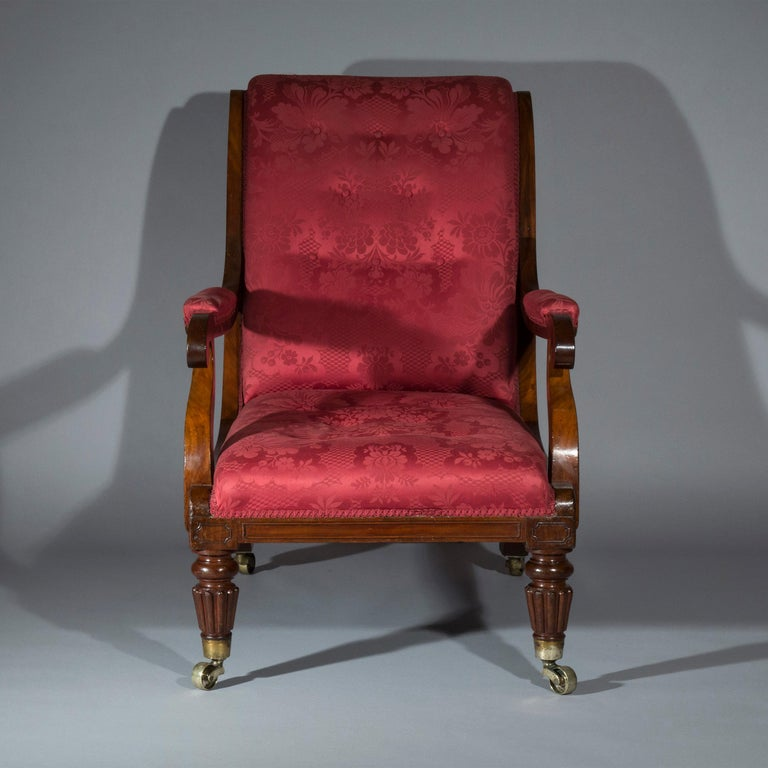Hand-Carved Large Regency Library Armchair, attributed to Gillows For Sale
