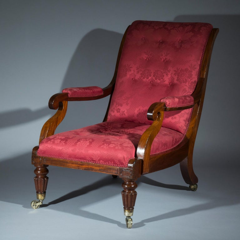 Mahogany Large Regency Library Armchair, attributed to Gillows For Sale