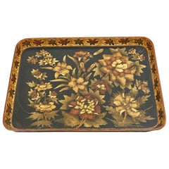 Large Regency Paper Mache Tray with Polychrome Design, English, circa 1830