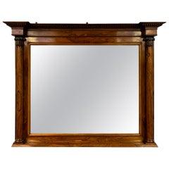 Large Regency Rosewood Overmantle Mirror with Original Mercury Mirror Plate